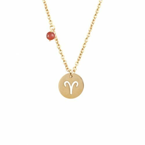 Mas Jewelz zodiac sign necklace with birthstone Aries Gold