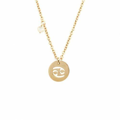 Mas Jewelz zodiac sign necklace with birthstone Cancer Gold