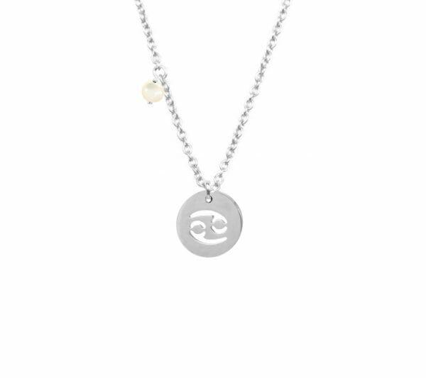 Mas Jewelz zodiac sign necklace with birthstone Cancer Silver