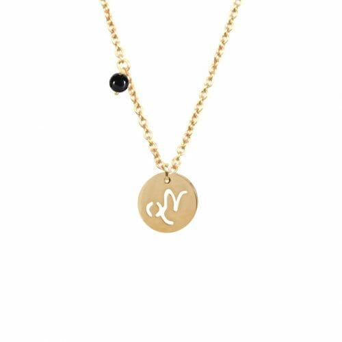 Mas Jewelz zodiac sign necklace with birthstone Capricorn Gold