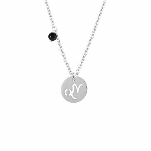 Mas Jewelz zodiac sign necklace with birthstone Capricorn Silver