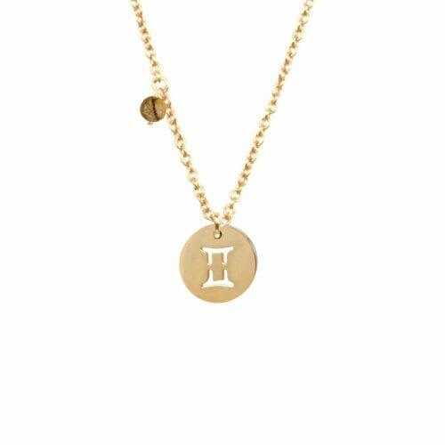 Mas Jewelz zodiac sign necklace with birthstone Gemini Gold