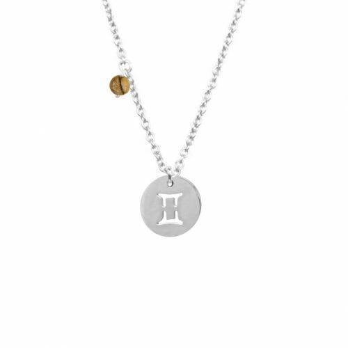 Mas Jewelz zodiac sign necklace with birthstone Gemini Silver