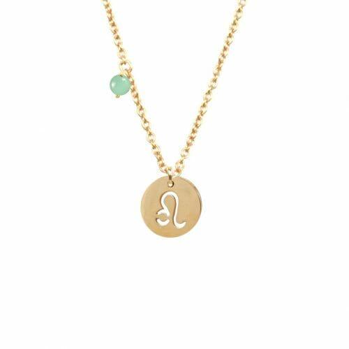 Mas Jewelz zodiac sign necklace with birthstone Leo Gold