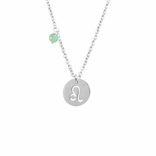 Mas Jewelz zodiac sign necklace with birthstone Leo Silver