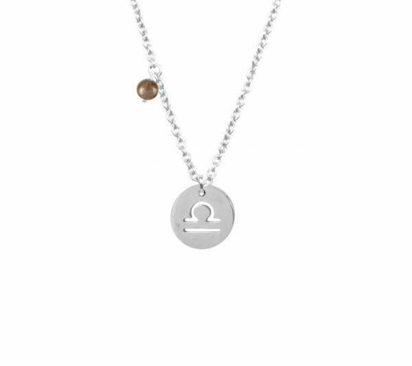Mas Jewelz zodiac sign necklace with birthstone Libra Silver