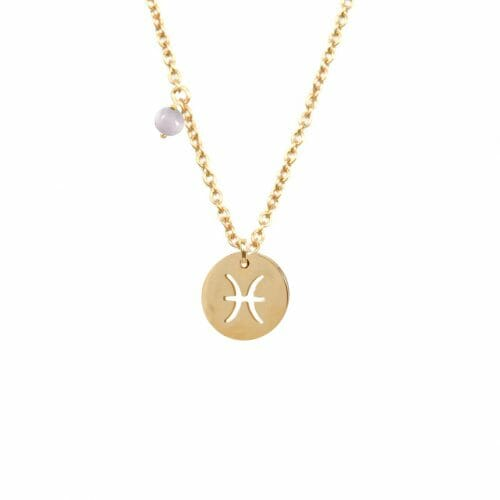 Mas Jewelz zodiac sign necklace with birthstone Pisces Gold