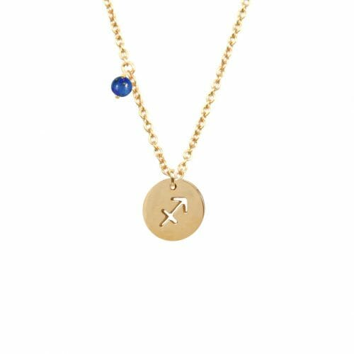 Mas Jewelz zodiac sign necklace with birthstone Sagittarius Gold