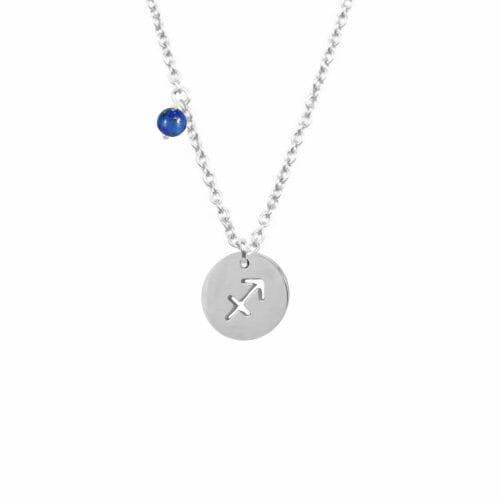 Mas Jewelz zodiac sign necklace with birthstone Sagittarius Silver