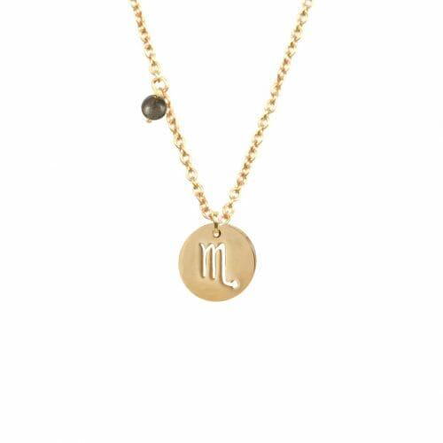Mas Jewelz zodiac sign necklace with birthstone Scorpio Gold