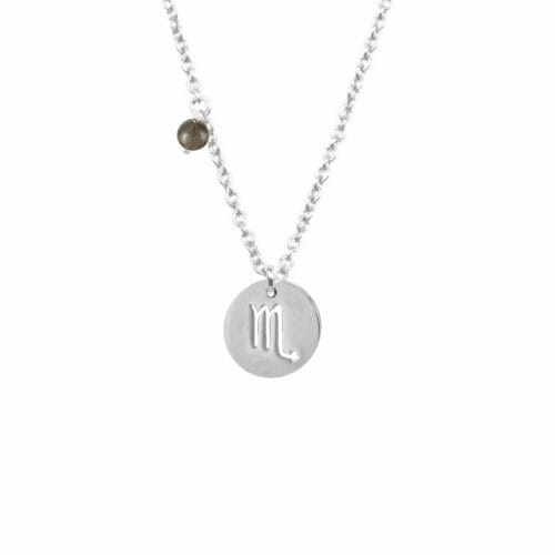 Mas Jewelz zodiac sign necklace with birthstone Scorpio Silver