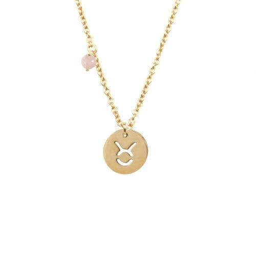 Mas Jewelz zodiac sign necklace with birthstone Taurus Gold