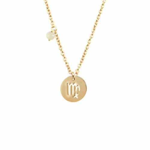 Mas Jewelz zodiac sign necklace with birthstone Virgo Gold