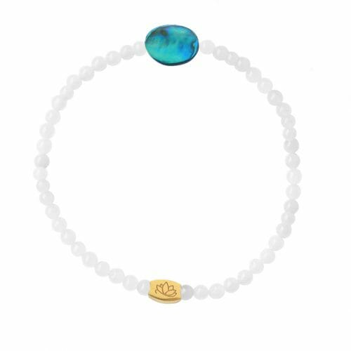 Mas Jewelz 3 mm Jade bracelet with small Abalone oval Gold