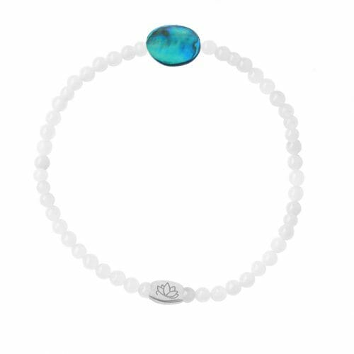 Mas Jewelz 3 mm Jade bracelet with small Abalone oval Silver
