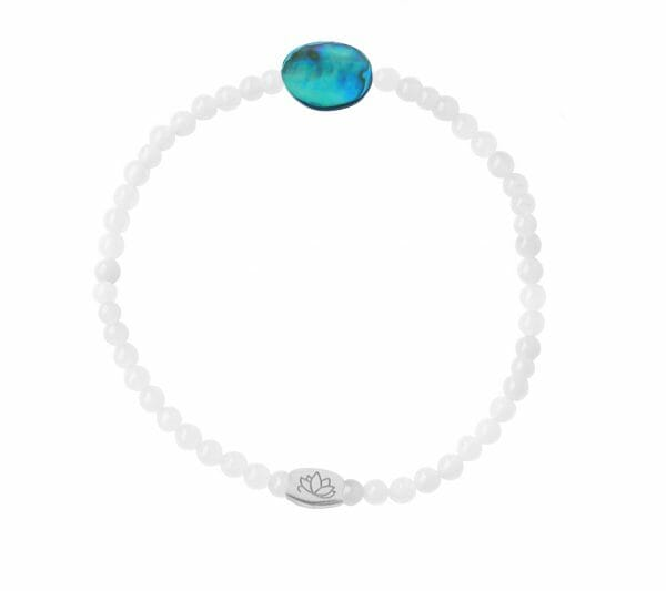 Mas Jewelz 3 mm Jade bracelet with small Abalone oval Silver