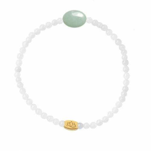 Mas Jewelz 3 mm Jade bracelet with small Amazonite oval Gold