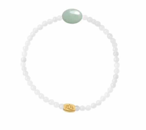 Mas Jewelz 3 mm Jade bracelet with small Amazonite oval Gold