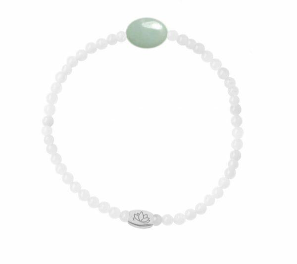 Mas Jewelz 3 mm Jade bracelet with small Amazonite oval Silver