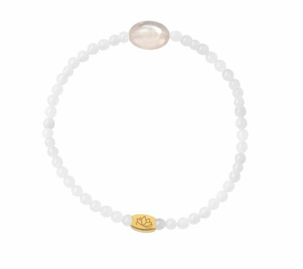 Mas Jewelz 3 mm Jade Armband mit kleinen Rosenquartz oval Gold