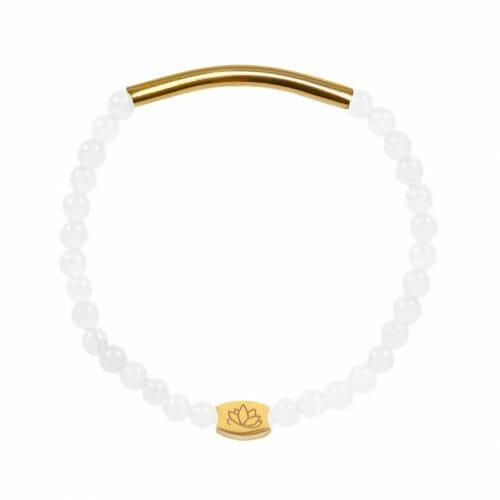 Mas Jewelz 4 mm Jade bracelet with Tube shiny Gold