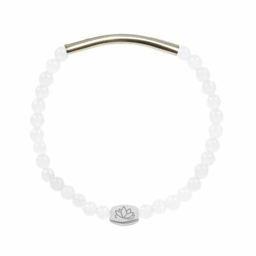Mas Jewelz 4 mm Jade bracelet with Tube shiny Silver