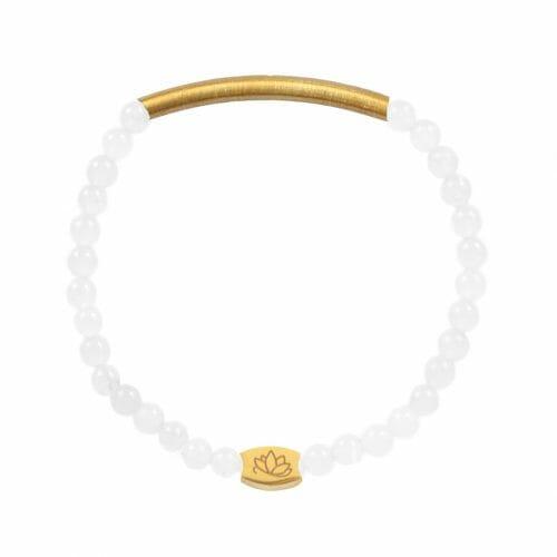 Mas Jewelz 4 mm Jade bracelet with Tube mat Gold